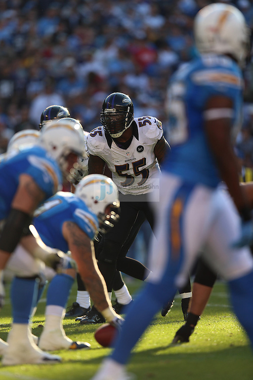 Baltimore Ravens linebacker Terrell Suggs (55) in action against the San Diego Chargers during an NFL game on Sunday, November 25, 2012 in San Diego, CA.  (Photo by Jed Jacobsohn)