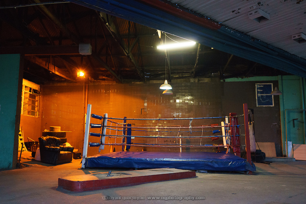 The Hillbrow Boxing Club, located in Hillbrow, one of Johannesburg, South Africa's most notorious neighbourhoods, operates in the donated space of the forecourt of a disused petrol station. The club used to have a proper boxing ring, but this was destroyed after a minibus driver lost control of his vehicle and careened into the club, destroying the ring. Since then, the club has had to make do with an uneven structure fashioned from what could be salvaged of the original ring.