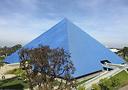 Mar 17, 2017; Long Beach, CA, USA; General overall view of the Walter Pyramid on the campus of Long Beach State. The arena is the home of the Long Beach State 49ers basketball and volleyball teams. Each side of the perimeter of Walter Pyramid measures 345 feet (105m), making it a mathematically true pyramid. It is one of only three true pyramid-style buildings in the United States along with the the Luxor Las Vegas in Las Vegas, Nevada and Pyramid Arena in Memphis, Tennessee. It was officially opened on Nov. 30, 1994 when the Long Beach State men's basketball game played host to the Detroit Titans, which aired live on ESPN. A standing-room only crowd of 5,021 saw Long Beach win 71-64.