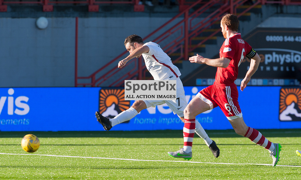 An early shot for #7 Dougie Imrie (Hamilton Academical)<br /> <br /> SPFL Premiership<br /> Hamilton Academical v Aberdeen<br /> New Douglas Park, Hamilton<br /> Sunday 22 November 2015<br /> <br /> &copy; Russel Hutcheson | SportPix 2015