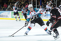 KELOWNA, CANADA - FEBRUARY 18: Brett Bulmer #19 of the Kelowna Rockets skates with the puck against the Red Deer Rebels at the Kelowna Rockets on February 18, 2012 at Prospera Place in Kelowna, British Columbia, Canada (Photo by Marissa Baecker/Shoot the Breeze) *** Local Caption ***