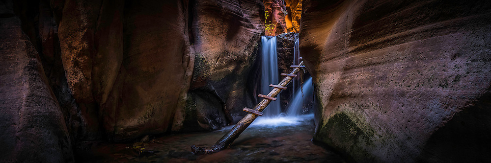Panoramic view of Kanarra Creek Falls in Southern Utah on a cool Fall day. This slot canyon provides those who venture there with a uniquely solitary experience in the cooler Fall months.
