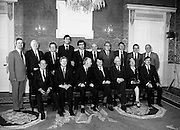The newly elected Fine Gael/Labour coalition government under Dr Garret FitzGerald, having received their seals of office from President Hillery at Áras an Uachtaráin. Back row: Minister for Finance, John Bruton; Minister for Fisheries and Forestry, Tom Fitzpatrick; Minister for Labour and Public Services, Liam Kavanagh; Minister for Agriculture, Alan Dukes; Minister for Justice, Jim Mitchell; Minister for Posts and Telegraphs and Transport, Patrick Cooney; Minister for Trade, Commerce and Tourism (also acting Minister for Foreign Affairs), John Kelly; Minister for Education, John Boland; Minister for the Gaeltacht, Paddy O'Toole; James Dooge (appointed Minister for Foreign Affairs following his subsequent nomination to Seanad Éireann).<br />