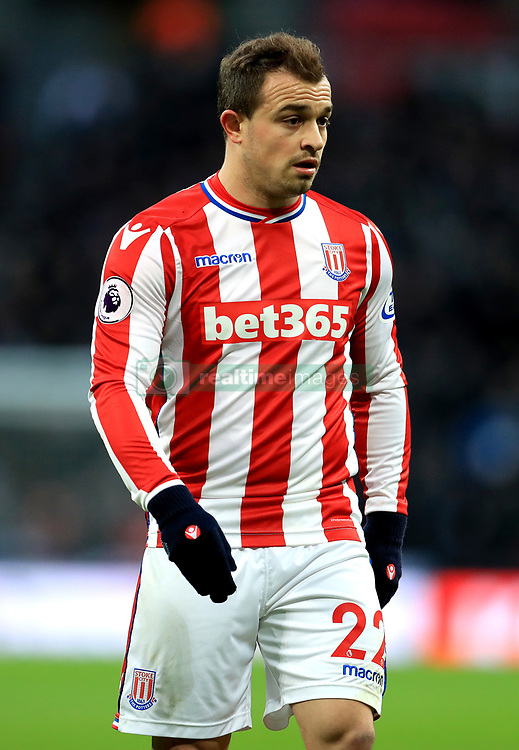 """Stoke City's Xherdan Shaqiri during the Premier League match at Wembley Stadium, London. PRESS ASSOCIATION Photo. Picture date: Saturday December 9, 2017. See PA story SOCCER Tottenham. Photo credit should read: Adam Davy/PA Wire. RESTRICTIONS: EDITORIAL USE ONLY No use with unauthorised audio, video, data, fixture lists, club/league logos or """"live"""" services. Online in-match use limited to 75 images, no video emulation. No use in betting, games or single club/league/player publications."""