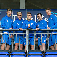 New recruits to St Johnstone FC's U20's for the 2016-17 season, pictured from left, Cammy Lumsden, Ali McCann, Jamie Docherty, Cameron Thomson and Joe Johnson<br />Picture by Graeme Hart.<br />Copyright Perthshire Picture Agency<br />Tel: 01738 623350  Mobile: 07990 594431
