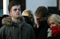 © under license to London News Pictures.  16/11/10..Friends of Senior Aircraftman Scott Hughes, a British airman killed in a boating accident in Cyprus, grieve at his repatriation, Wootton Bassett, Wiltshire. ..SAC Scott Hughes, 20, from North Wales, a gunner from Number 1 Squadron Royal Air Force Regiment, was in Cyprus ahead of returning home after six months' service in Afghanistan. ..He died on November 7 from injuries sustained when he was struck by a powerboat while swimming in the sea...Picture credit should read: Rebecca Mckevitt/London News Pictures