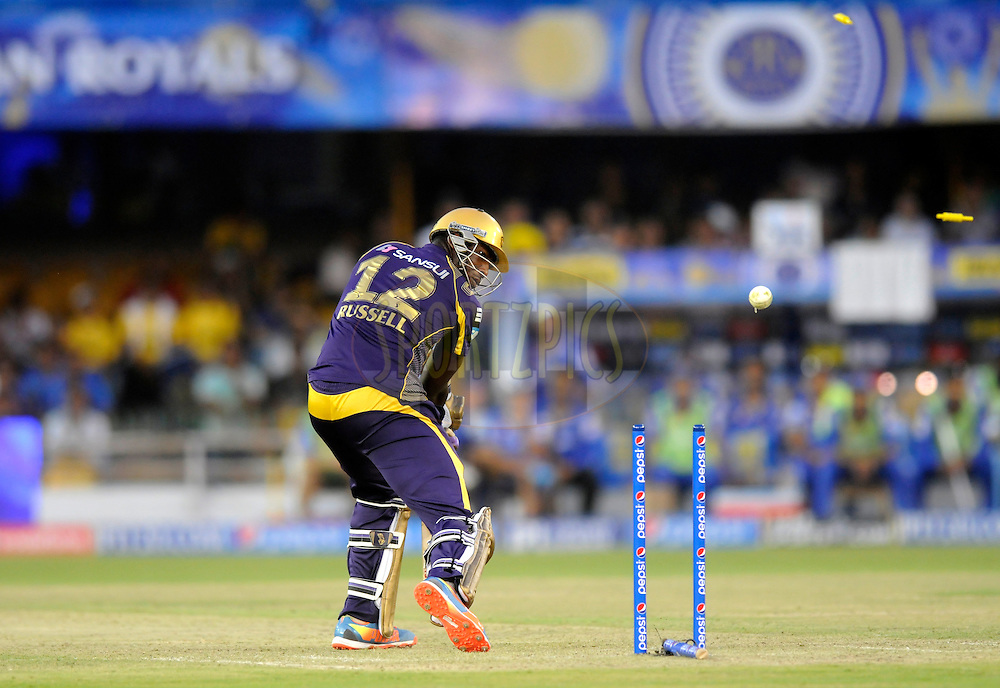 Andre Russell of the Kolkata Knight Riders gets bowled out by Shane Watson captain of the Rajatshan Royals during match 25 of the Pepsi Indian Premier League Season 2014 between the Rajasthan Royals and the Kolkata Knight Riders held at the Sardar Patel Stadium, Ahmedabad, India on the 5th May  2014<br /> <br /> Photo by Pal Pillai / IPL / SPORTZPICS      <br /> <br /> <br /> <br /> Image use subject to terms and conditions which can be found here:  http://sportzpics.photoshelter.com/gallery/Pepsi-IPL-Image-terms-and-conditions/G00004VW1IVJ.gB0/C0000TScjhBM6ikg