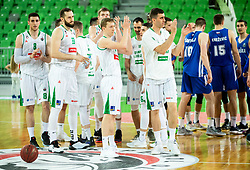 Players of Petrol Olimpija celebrate after winning during basketball match between KK Petrol Olimpija and KK Rogaska in Round #5 of Liga Nova KBM za prvaka 2018/19, on March 31, 2019, in Arena Stozice, Ljubljana, Slovenia. Photo by Vid Ponikvar / Sportida