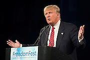 Donald Trump speaks during FreedomFest at the Planet Hollywood Resort & Casino in Las Vegas, Nevada on July 11, 2015.