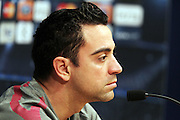 FC Barcelona midfielder Xavi Hernandez speaks with the press ahead of the Champions League second league match between Barcelona and Real Madrid.  Camp Nou, Barcelona, 2nd May 2011.