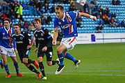 Carlisle United Defender Danny Grainger takes the Penalty during the Sky Bet League 2 match between Carlisle United and Portsmouth at Brunton Park, Carlisle, England on 21 November 2015. Photo by Craig McAllister.