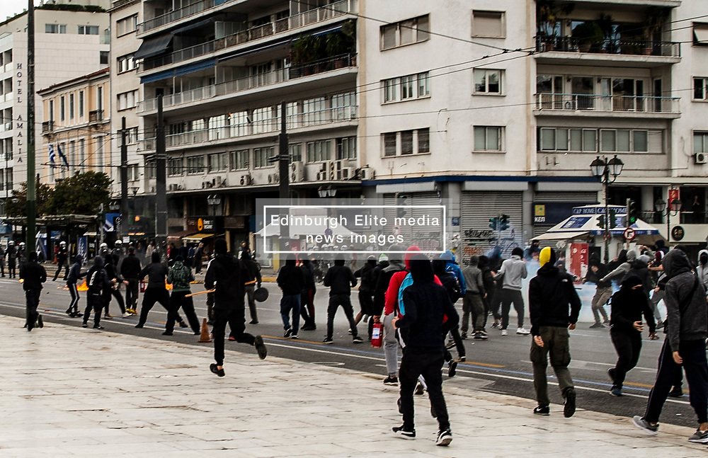 High school students clash with riot police  during a demonstrate against the new government law in schools  in Athens, Greece on 04 November 2019<br /> <br /> Pictured: <br /> Dimitris Lampropoulos  | EEm date