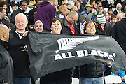 New Zealand fans before the Rugby World Cup Pool C match between New Zealand and Namibia at the Queen Elizabeth II Olympic Park, London, United Kingdom on 24 September 2015. Photo by David Charbit.