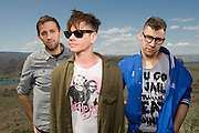 George, WA. - May 28th, 2012 Andrew Dost, Nate Ruess and Jack Antonoff of Fun pose for a portrait backstage at the Sasquatch Music Festival in George, WA. United States