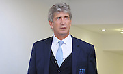 Manuel Pellegrini appears from the dressing room after the Barclays Premier League match between Crystal Palace and Manchester City at Selhurst Park, London, England on 12 September 2015. Photo by Michael Hulf.