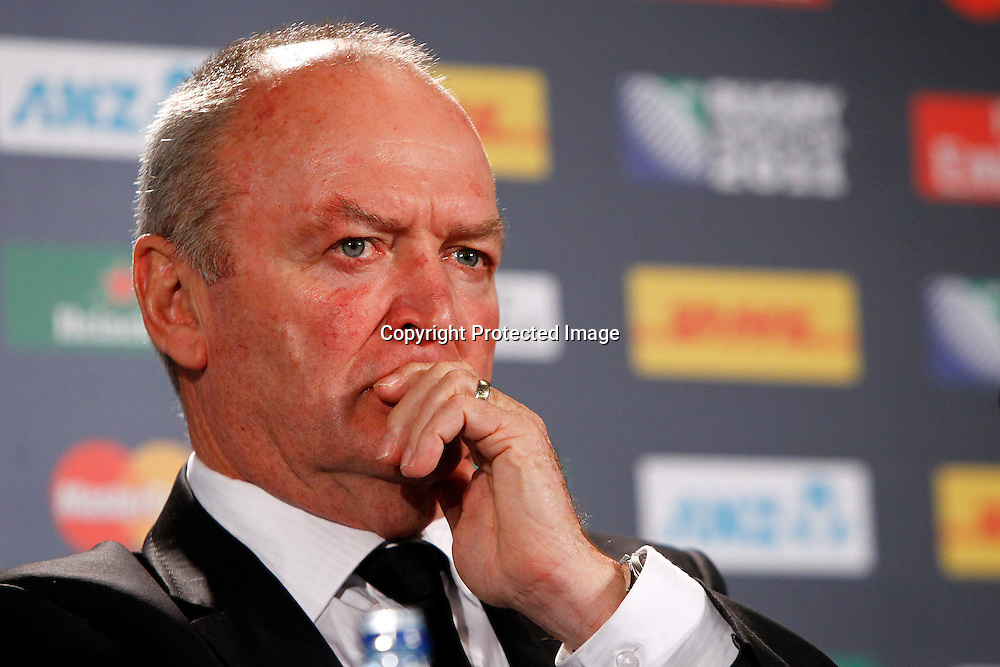 Graham Henry at the after match presser during the New Zealand All Blacks versus Tonga opening pool A match of the 2011 IRB Rugby World Cup. Eden Park, Auckland, New Zealand. Friday 9 September 2011. Photo: Ella Brockelsby / Photosport.co.nz