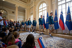 "Players of Slovnian basketball team during award ceremony ""Zlati red za zasluge"" for Basketball association of Slovenia on the day of statehood in the presidential palace, on June 25, 2018 in Ljubljana, Slovenia. Photo by Urban Urbanc / Sportida"