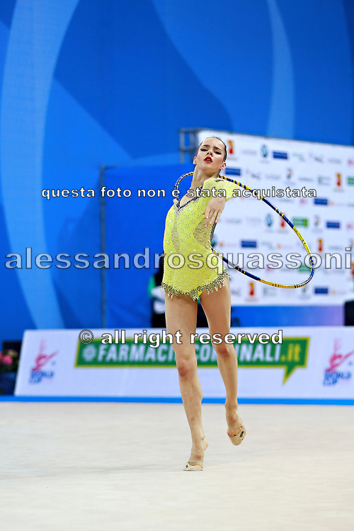 Staykova Sara during qualifying hoop at the Pesaro World Cup 01 April 2016. Sara is an Bulgarian individual rhythmic gymnast, she was born in 13 November 1993 Plovdiv, Bulgaria.She retired from rhythmic gymnastics in May 2016.