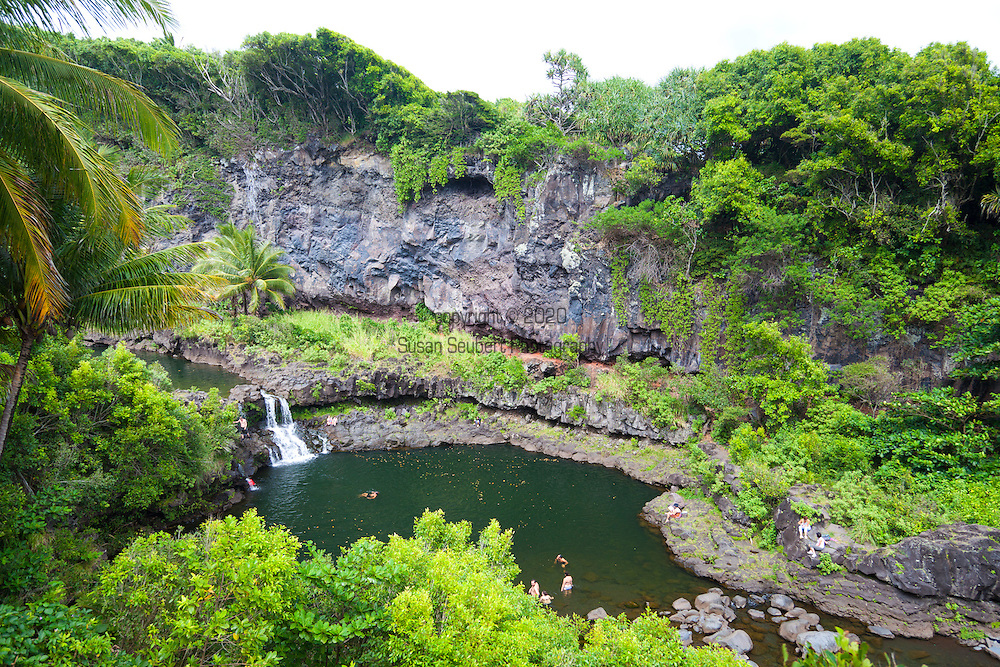 Maui, Hawaii.  The Oheo Gulch, otherwise known as the Seven Sacred Pools, located in the Kipahulu district and part of the Haleakala National Park.