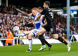 Rory Gaffney of Bristol Rovers is challenged by John Mousinho of Oxford United - Rogan/JMP - 14/10/2017 - FOOTBALL - Memorial Stadium - Bristol, England - Bristol Rovers v Oxford United - EFL Sky Bet League One.