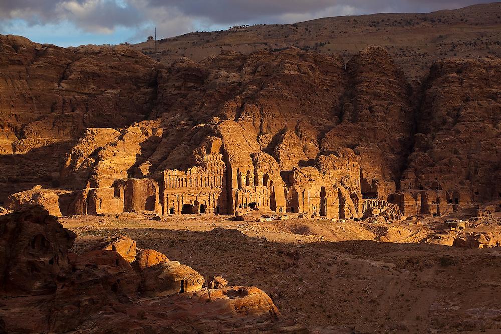 Sunset over the Royal Tombs in Petra, Jordan.