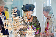 Princess Beatrix of The Netherlands opens the exhibition Royal gifts in the Silvermuseum in Schoonhoven, The Netherlands, 5 June 2014. The exhibition in the new museum shows silver gifts that the royal family received during two centuries. The highlight of the exhibition are the Dancing Tullips, a gift to Princess Beatrix for her silver reigning jubilee in 2005. COPYRIGHT ROBIN UTRECHT