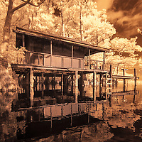 Infrared photo of Fish Kamp at Blue Cypress Lake, Florida color
