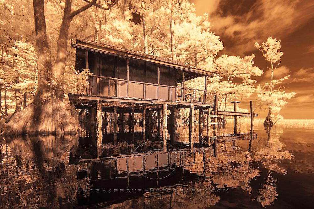 Infrared photo of Fish Kamp at Blue Cypress Lake, Florida color