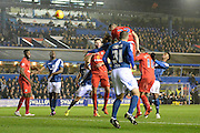 Blackburn Rovers defender Shane Duffy poets in a header during the Sky Bet Championship match between Birmingham City and Blackburn Rovers at St Andrews, Birmingham, England on 3 November 2015. Photo by Alan Franklin.