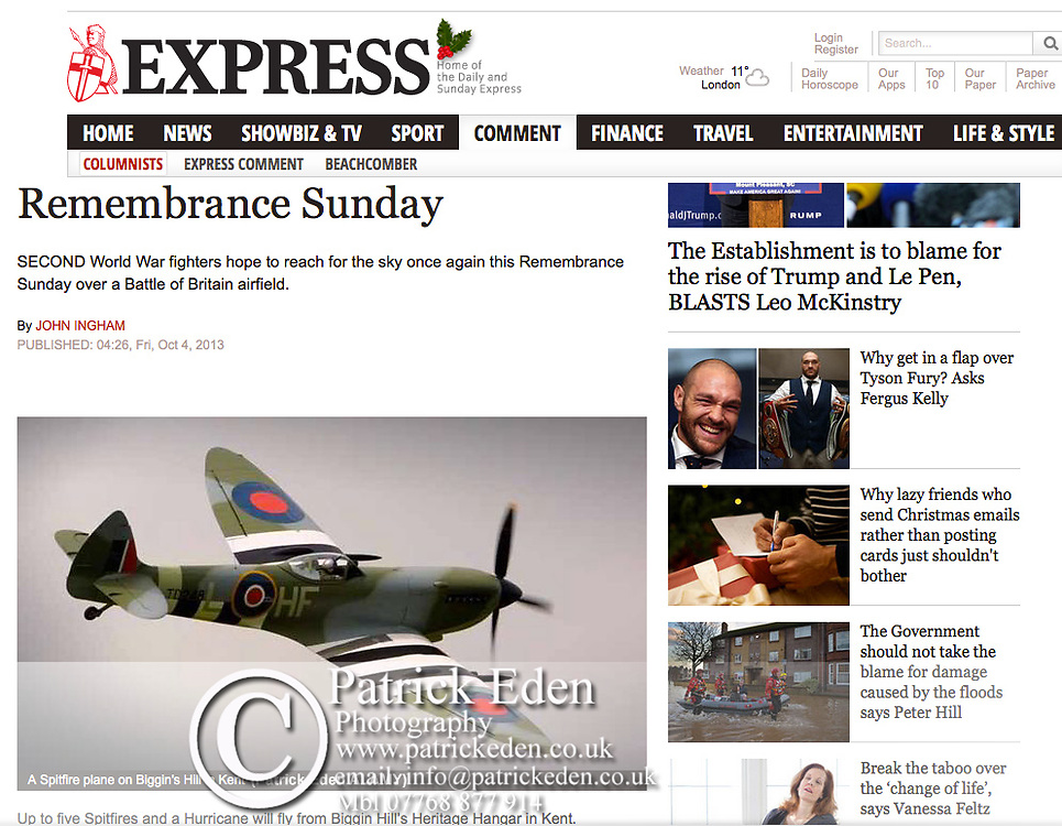 Spitfire, Battle of Britain, Flight, Bembridge, Isle of Wight, UK, Daily Express,