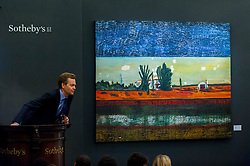 "© Licensed to London News Pictures. 07/10/2016. London, UK.   ""Grasshopper"" by Peter Doig sold for a hammer price of £5.1m (est £2.8-3.5m) at Sotheby's Italian and Contemporary Art evening sale in New Bond Street. Photo credit : Stephen Chung/LNP"