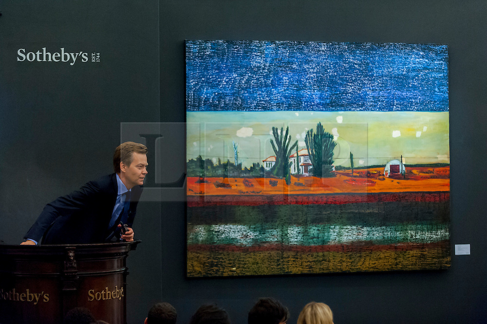 """© Licensed to London News Pictures. 07/10/2016. London, UK.   """"Grasshopper"""" by Peter Doig sold for a hammer price of £5.1m (est £2.8-3.5m) at Sotheby's Italian and Contemporary Art evening sale in New Bond Street. Photo credit : Stephen Chung/LNP"""