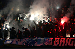 Malmo fans let off flairs during the game