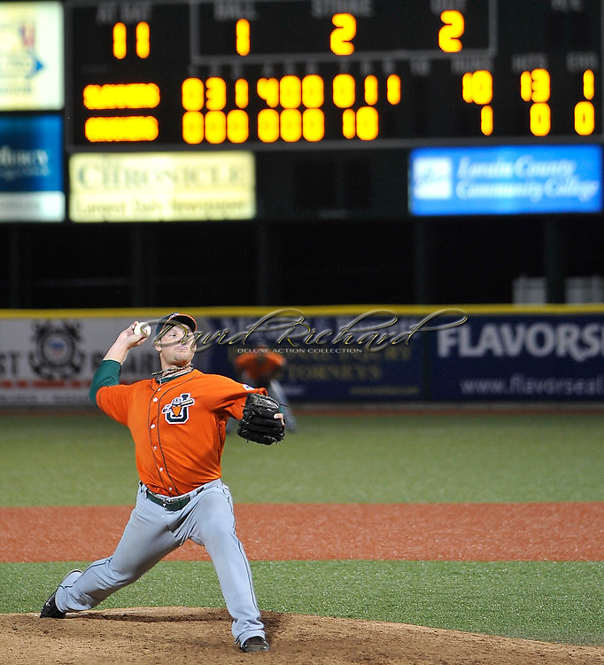 Joliet's Andrew Moss delivers the final pitch in his no-hitter against the Lake Erie Crushers in a Frontier League baseball game at All Pro Freight Stadium in Avon, Ohio on July 27, 2011. © David Richard / DavidRichardPhoto.com