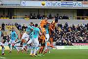 Wolverhampton Wanderers defender Danny Batth wins a header during the Sky Bet Championship match between Wolverhampton Wanderers and Derby County at Molineux, Wolverhampton, England on 27 February 2016. Photo by Alan Franklin.