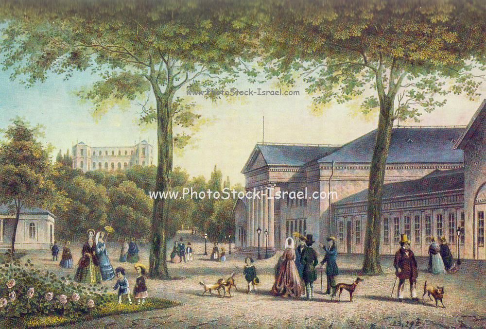 In front of the old kurhaus (Cure house or Spa) in Wiesbaden colored engraving from 1830