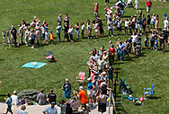 Middletown, New York - People line up on Alumni Green at SUNY Orange to watch a partial solar eclipse through solar telescopes on Aug. 21, 2017.