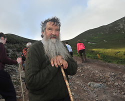 Faces on Croagh Patrick .....Donal O'Connell from Banagher Co Offaly on Croagh Patrick yesterday.<br /> Pic Conor McKeown