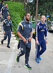 HAIFA, ISRAEL - Saturday, March 28, 2015: Wales' captain Ashley Williams with Medical Officer Doctor Jon Houghton on a team walk ahead of the UEFA Euro 2016 qualifying Group B match against Israel. (Pic by David Rawcliffe/Propaganda)