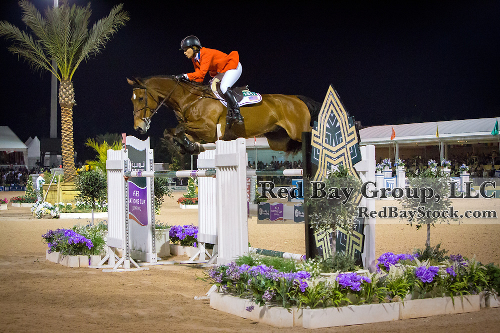 Beezie Madden (USA) and Simon at the 2014 Furusiyya FEI Nations Cup held during the Winter Equestrian Festival in Wellington, Florida.