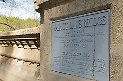The concrete bridge was completed over 100 years ago. The procedure to produce the relief in still wet concrete was named after the assistant engineer that worked on the bridge, Henry Quimby.  (Bas Slabbers/for NewsWorks)