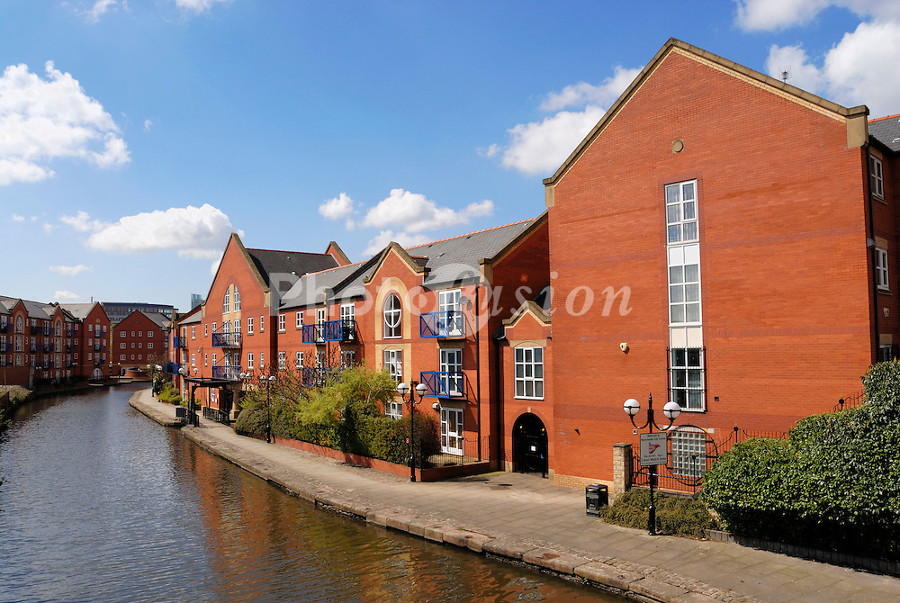 Houses build adjacent to the Ashton Canal in Piccadilly Village ; Manchester city centre; close to Piccadilly and Ancoats areas of Manchester,