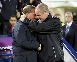 WEST BROMWICH, ENGLAND - Wednesday, September 26, 2012: Liverpool's manager Brendan Rodgers and West Bromwich Albion's manager Steve Clarke during the Football League Cup 3rd Round match at the Hawthorns. (Pic by David Rawcliffe/Propaganda)