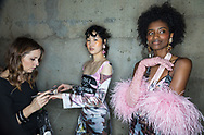 LONDON, ENGLAND - FEBRUARY 18:  Models backstage ahead of the Fashion East runway show during the London Fashion Week February 2017 collections at Tate Modern on February 18, 2017 in London, England.  (Photo by Tim P. Whitby/Getty Images)