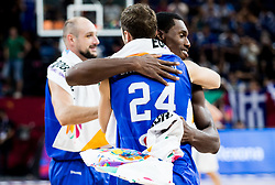 Filippo Baldi Rossi of Italy and Paul Biligha of Italy celebrate after winning during basketball match between National Teams of Finland and Italy at Day 10 in Round of 16 of the FIBA EuroBasket 2017 at Sinan Erdem Dome in Istanbul, Turkey on September 9, 2017. Photo by Vid Ponikvar / Sportida