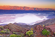 Dawn light over Death Valley from Dante's View, Death Valley National Park. California USA