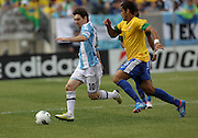 JUNE 09 2012:   Lionel Messi (10) of Argentina races away from Romulo (8) of Brazil during an international friendly match at Metlife Stadium in East Rutherford,New Jersey. Argentina won 4-3.
