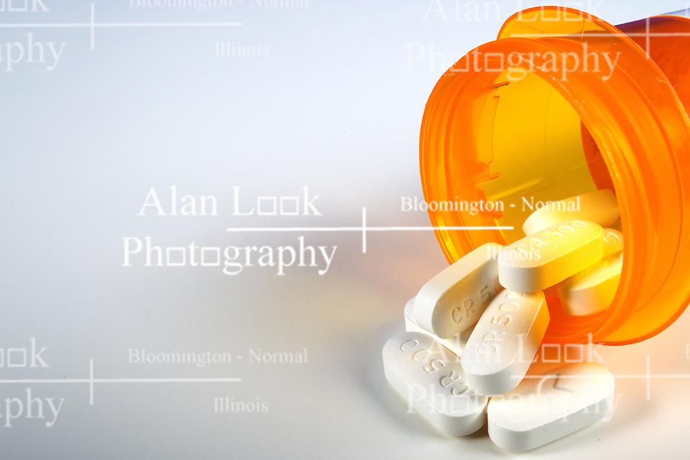 13 April 2014:   pills and caplets of prescription medicine.  antibiotic and pain killers