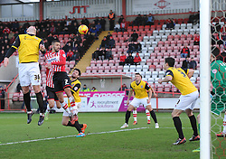 Exeter City's Liam Sercombe heads towards goal. - Photo mandatory by-line: Alex James/JMP - Mobile: 07966 386802 - 10/01/2015 - SPORT - football - Exeter - St James Park - Exeter City v Northampton - Sky Bet League Two