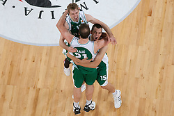Zoran Dragic, Jure Balazic and Jure Lalic of Krka  after basketball match between KK Union Olimpija and KK Krka in 4nd Final match of Telemach Slovenian Champion League 2011/12, on May 24, 2012 in Arena Stozice, Ljubljana, Slovenia. Krka defeated Union Olimpija 65-55. (Photo by Grega Valancic / Sportida.com)